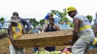 Relatives of prisoners who were victims of a recent prison riot, bury their loved ones during a funeral service in Manaos, Brazil, 04 January 2017.