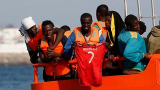 Rescued migrants arrive in Spain