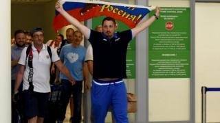 Alexander Shprygin and other fans leave Sheremetevo airport in Moscow 18/06/2016
