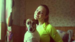 Natasha Wild with a pet dog