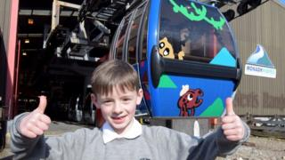 Ruaraidh Stephen and his design on the gondola cabin