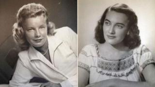 Fotos en blanco y negro de las hermanas Martha Young Williams (izquierda) y Jean Young Haley (derecha).