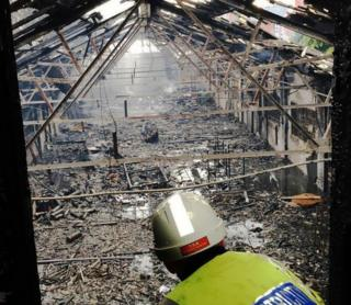 Day after the fire at a disused warehouse in Lenton, Nottingham
