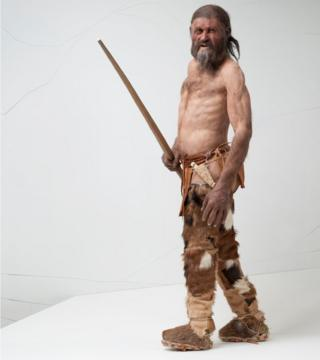 The iceman as reconstructed by Dutch artists Alfons and Adrie Kennis