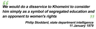 """""""We would do a disservice to Khomeini to consider him simply as a symbol of segregated education and an opponent of women's rights"""