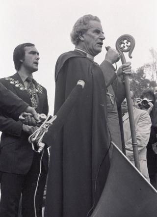 The Bishop of Southwark, Mervyn Stockwood, and the Mayor of Lewisham Roger Godsiff give a speech to anti-fascists