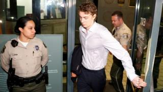 Brock Turner leaving Santa Clara County jail