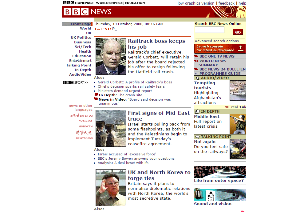 Crop of front page on 19 Oct 2000