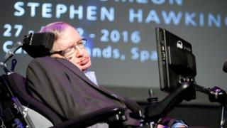 "Stephen Hawking gives a lecture entitled: ""A Brief History of Mine"" during the Starmus Festival"