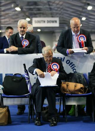 DUP party supporters at the count centre as counting for the General Election gets under way at the Eikon Exhibition Centre in Lisburn.
