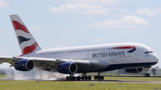 A British Airways (BA) Airbus A380 lands at the Le Bourget airport near Paris.