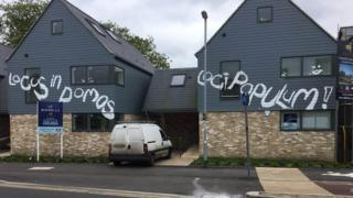 Graffiti on homes in Chesterton