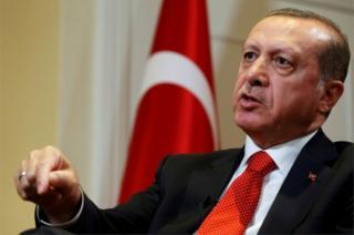 Turkish President Tayyip Erdogan speaks during an interview in New York on 19 September 2016.