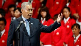 """Japan's former prime minister and president of the Tokyo 2020 Organizing Committee of Olympic and Paralympic games, delivers a speech during a send-off ceremony for the Japanese team""""s departure to the Rio 2016 Olympic Games, in Tokyo, Japan July 3, 2016."""