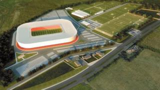 A plan of what Aberdeen's new stadium will look like