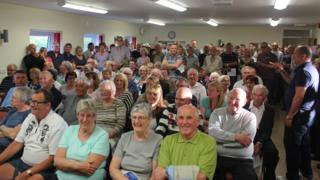 Residents of Desborough at a public meeting