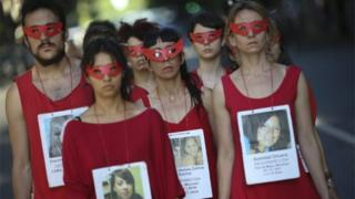 A protest against violence against women in Argentina, 25 November 2016
