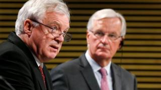 Brexit Secretary David Davis and European Unions chief Brexit negotiator Michel Barnier