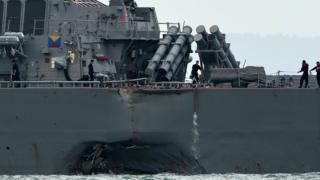 Des dégâts significatifs à la coque ont provoqué l'inondation de compartiments du destroyer lance-missiles USS John S. McCain
