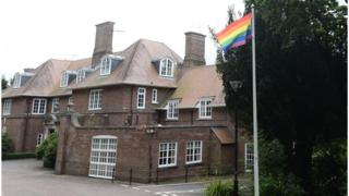 Pride flag at Stormont House