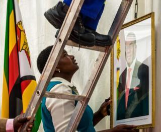 A portrait of Zimbabwe's new President Emmerson Mnangagwa is hung at State House, Harare, Zimbabwe - Monday 4 December 2017