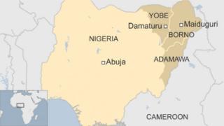 Map of Nigeria, showing Damaturu and Maiduguri