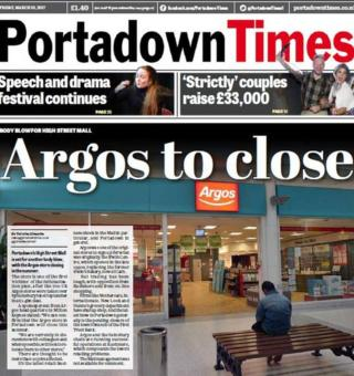 The front page of the Portadown Times