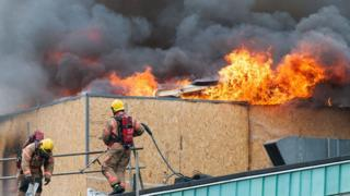 The fire involves the first floor plant room and roof space