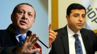 Turkish President Recep Tayyip Erdogan (L) and HDP co-leader Selahattin Demirtas - file pics