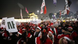 韓國民眾的示威抗議