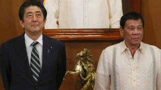 日本首相安倍晉三和菲律賓總統杜特爾特