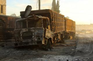 Damaged aid trucks are pictured after an airstrike on the rebel held Urum al-Kubra town, western Aleppo city, Syria 20 September 2016