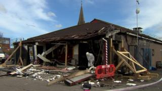 The scene of the suspected arson attack on the businesses