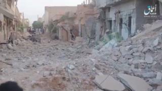 وكالة أعماق التابعة لتنظيم الدولة نشرت فيديو يظهر آثار القصف