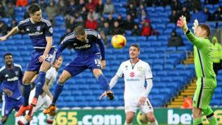 Tom Lawrence goes close with a header that struck the post