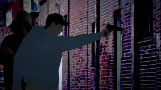 An illustration showing a person in an alleyway holding a gun aloft