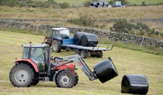 Tractors in a field