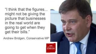 Andrew Bridget MP saying: I think that the figures... might not be giving the picture that businesses in the real world are going to get when they get their bills.