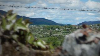 Barbed wire on borderland in Northern Ireland