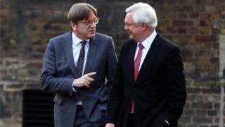 Guy Verhofstadt and David Davis walk up Downing Street