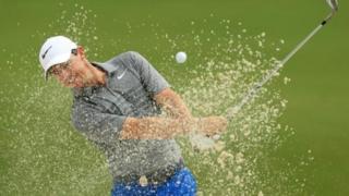 Rory McIlroy a lokacin atisayen gasar Amurka ta US PGA Championship