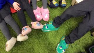 Children wearing slippers