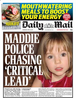 Daily Mail front page - 26/04/17