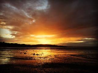 Stunning sunset at Cramond Causeway on our walk over to Cramond Island tonight.