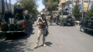 Afghan security forces arrive at the site of an explosion in Kabul on 31 July 2017