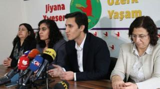 Demokratik Bölgeler Partisi (BDP) Eş Başkanı Kamuran Yüksek (ortada)