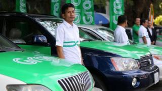 Grab driver and car in Cambodia