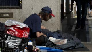 Homeless man in Victoria