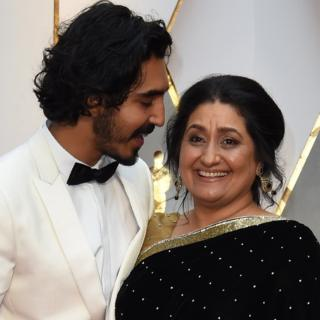 "Nominee for Best Supporting Actor ""Lion"" Dev Patel and his mother Anita"