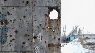 Сліди від куль в зоні проведення АТО